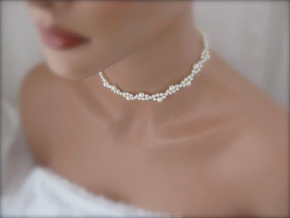 Pearl wedding choker necklace bridal jewelry | Jewlery | Pearl