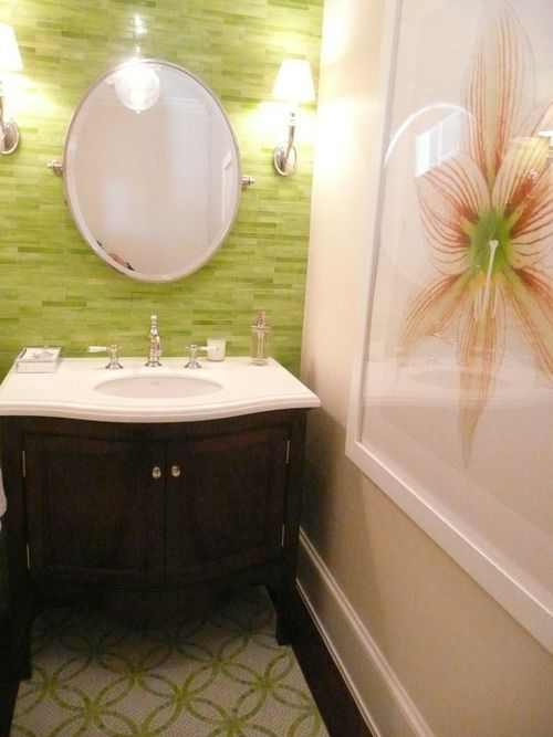 Mixed shades of green glass tiles with dark wood. | halfbaths ...