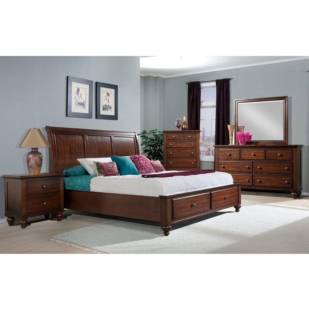 Cambridge newport storage five piece bedroom suite king bed