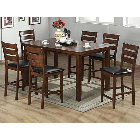Bon FurnitureMaxx 7pc Cherry Finish Solid Wood Counter Height Dining Set |  Cherry Finish Heavy Solid Wood