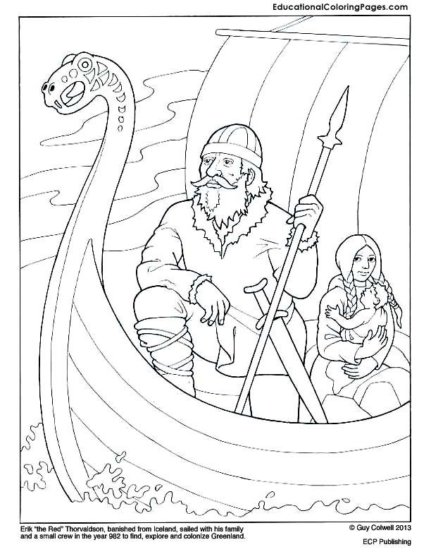 Eric The Red Viking Ship And Marco Polo Coloring Page