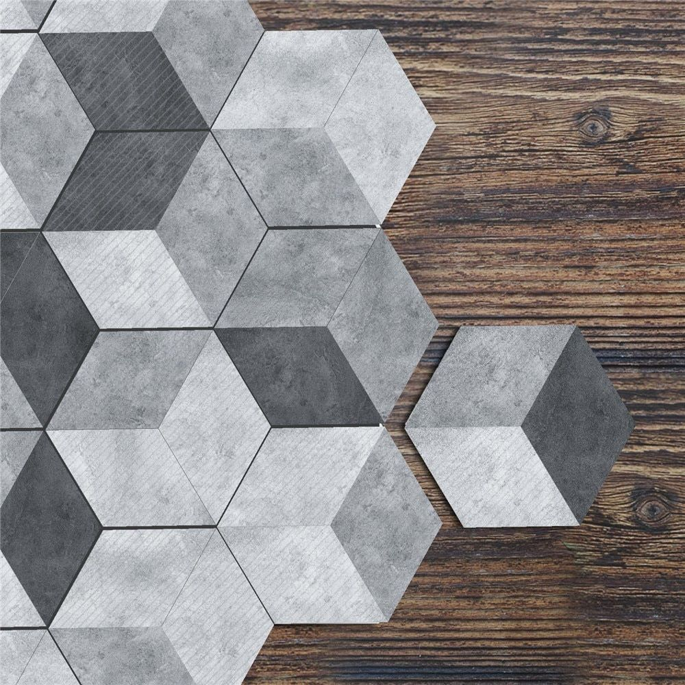10pcs Oil Proof Wall Tiles Pvc Hexagonal Floor Stickers For Kitchen Bathroom Living Room Diy Wallpaper Wall Decor Wallpaper Walls Decor Flooring Floor Stickers