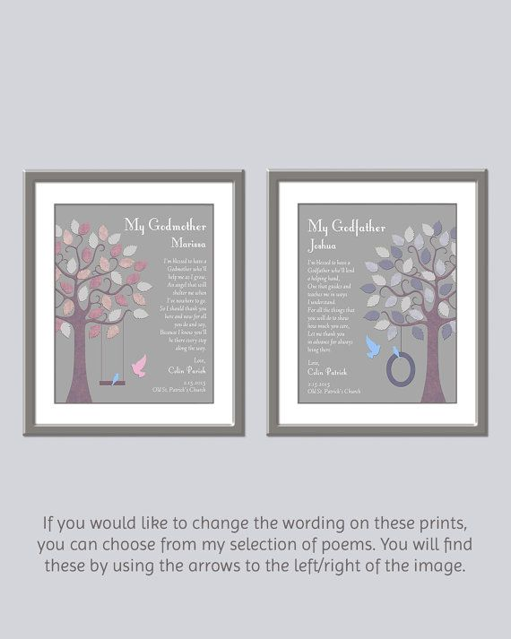 Godparent Prints Set Of 2 Gift From Godchild To Godmother And