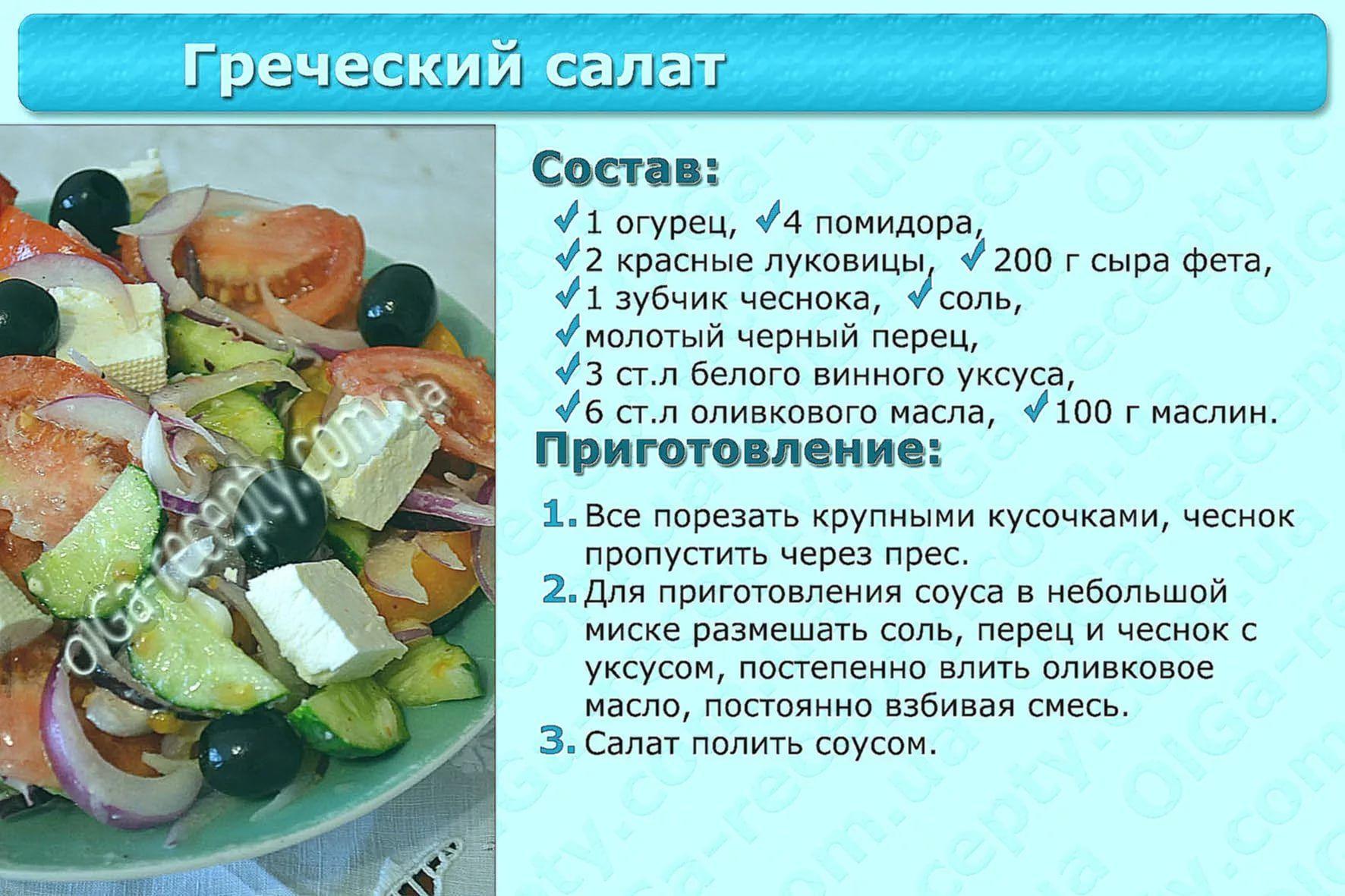 Салаты с рецептами в картинках