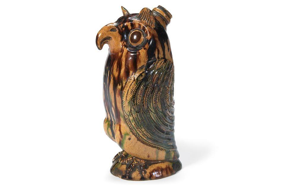 Moravian pottery owl bottle