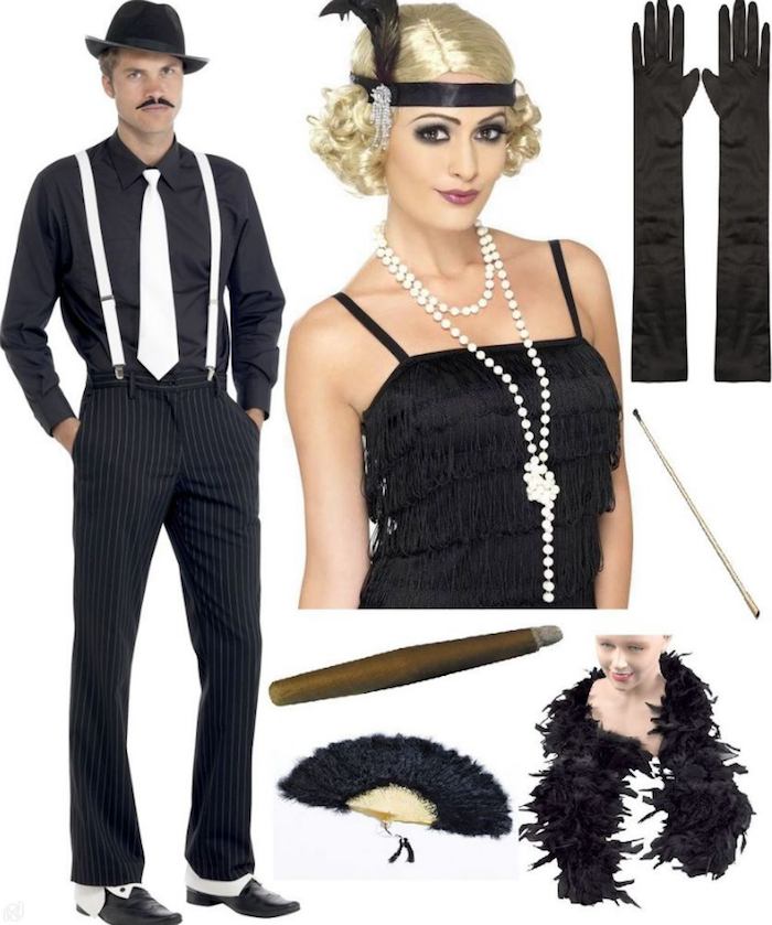Pinstripe Black Trousers White Suspenders Black Shirt And A White Tie On A Man With A Moustache And In 2020 Gatsby Party Dress Gatsby Party Outfit Great Gatsby Outfits