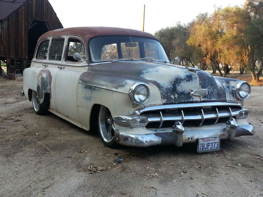 1954 chevy wagon twin turbo lsx eng, bagged cool patina 55