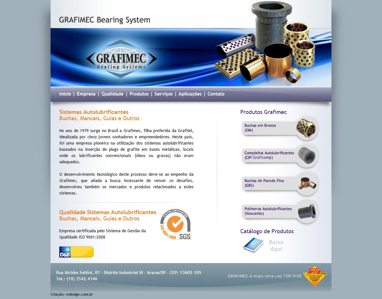 Site institucional da Grafimec Bearign System. Layout, HTML/CSS, PHP. Agência: Wdesign e Associadoss
