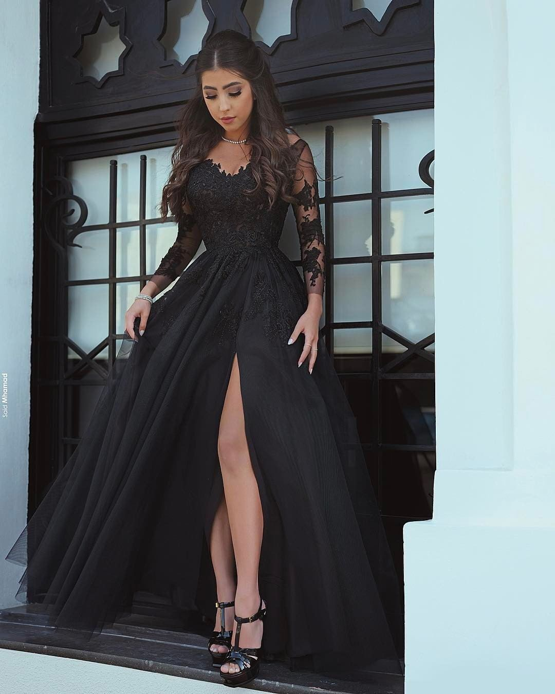 0785f5a809 Said Mhamad 2018 Black Prom Dresses with Long Sleeves Lace Appliques Sexy  Side Slit Party Gowns Women Dresses Ball Gown Prom Dress