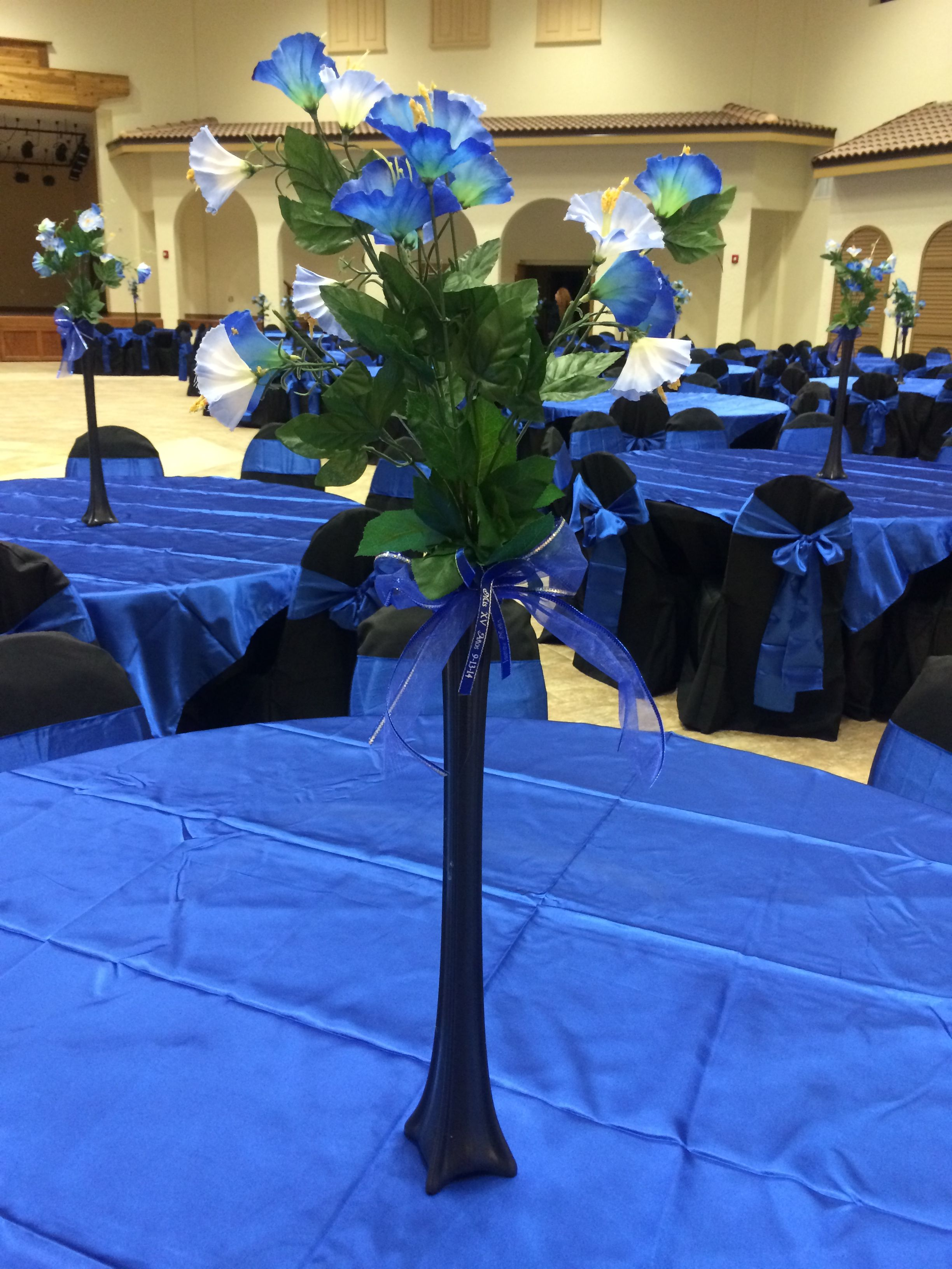 jasmine quinceanera centerpiece royal blue and black star On midnight blue centerpieces