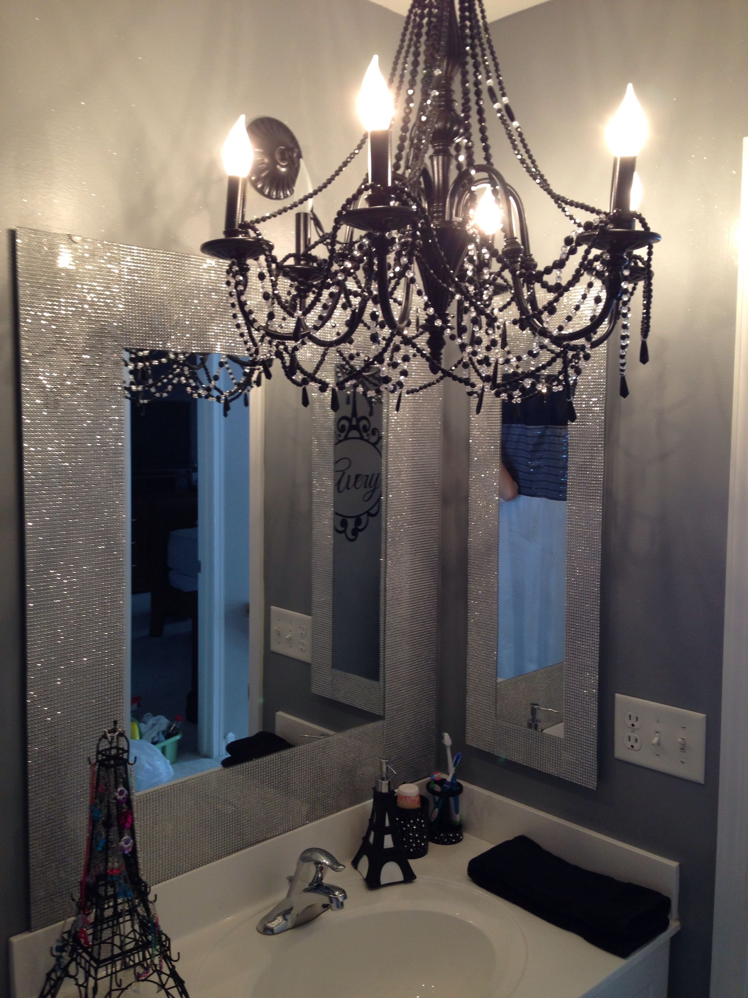 Diy Mirrors Rolls Of Faux Diamonds Added To Existing Mirror And Medicine Cabinet Bathroom Themes Paris Theme Bathroom Paris Themed Bathroom