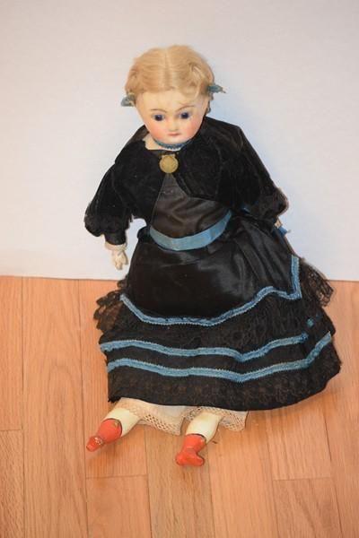 Antique Doll Papier Mache Wax Glass Eyes Early Doll Paper Mache