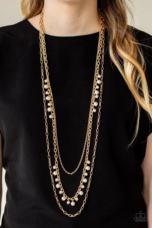 Photo of Perlenwettbewerb – Gold. Goldene Schichten mit Perlenkette. Paparazzi Zubehör.