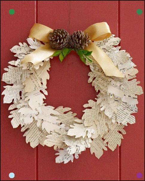 Photo of Corona di foglie di carta …. Per gentile concessione di Martha Stewart …. Il modello è fornito