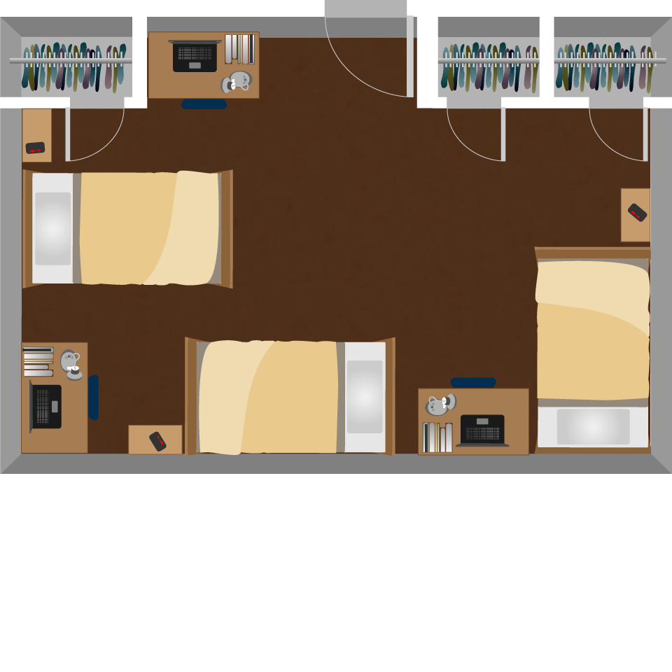 Triple Dorm Room Layout Mariorangecom College Dorm