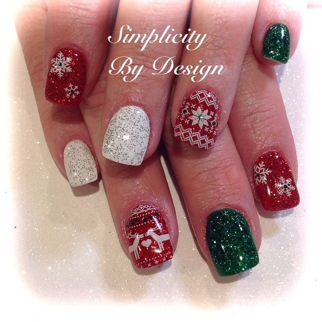 Day 359 Merry Christmas Nail Art Christmas Nail Art Pinterest