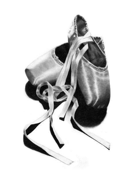 Ballet Shoes Original Pencil Drawing Print by WickedIllusionART, $18.00