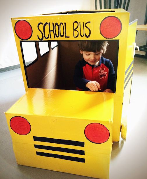 Diy homemade cardboard box school bus title one for Cardboard activities for toddlers