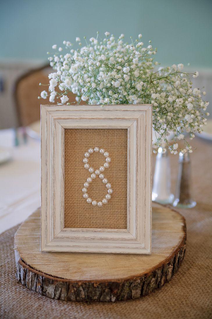 Pearl wedding table numbers in burlap backed frames  A DIY Wedding