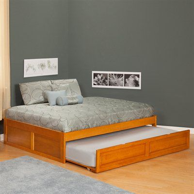 Simple full size trundle bed with twin second mattress | Toddler