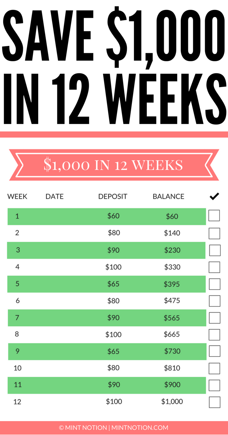 12-Week Money Challenge: Save $1,000 by Christmas