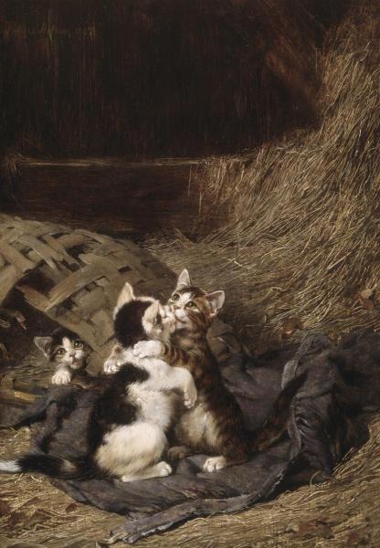 Kittens in the Hay -- by Julius Adam II (German, 1852-1913)