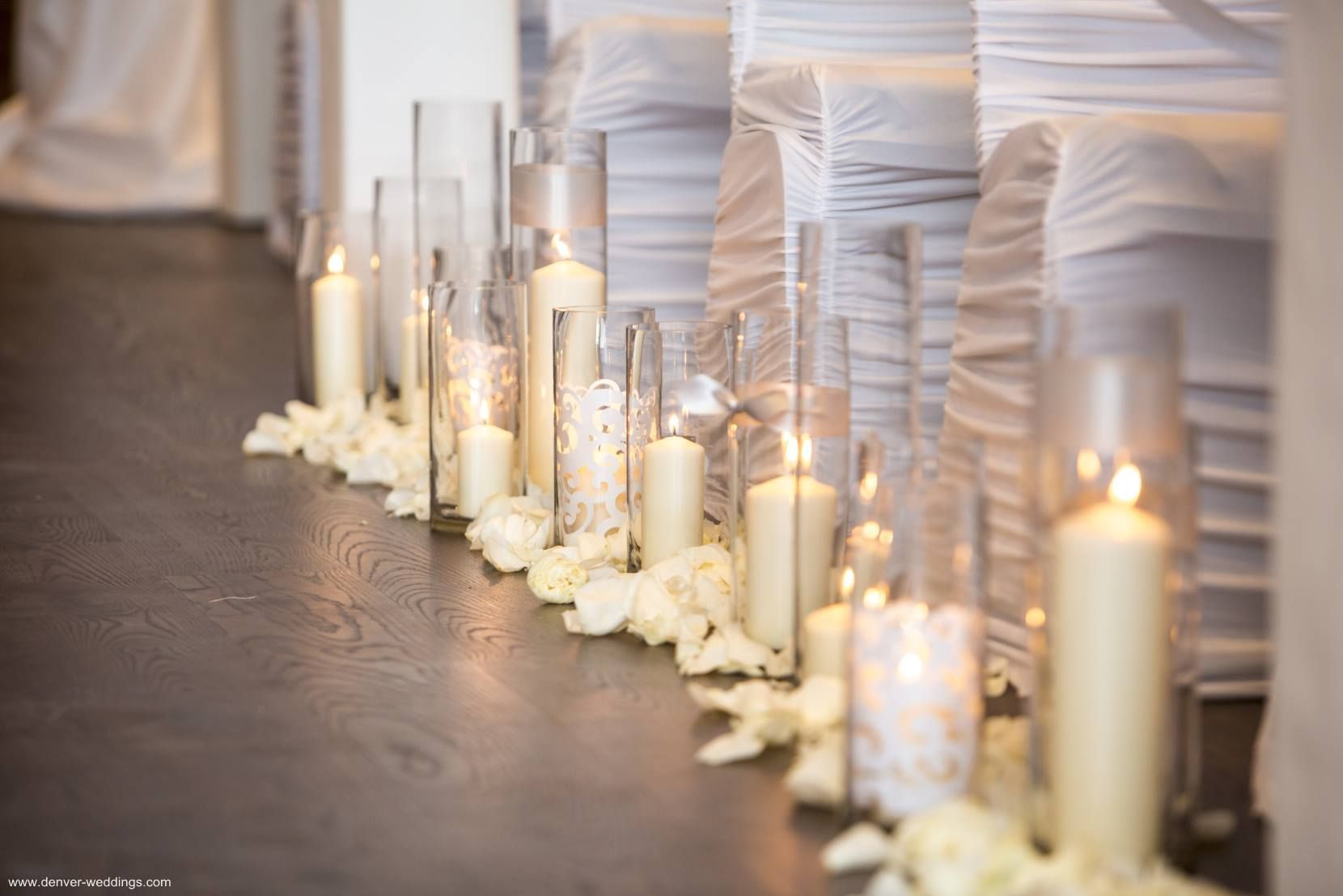 Candlelight Wedding Ceremony Candles Down Aisle