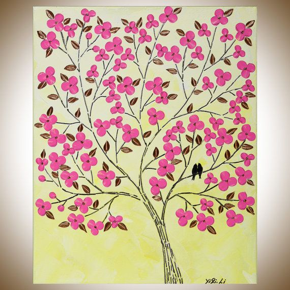 Yellow pink flowers love birds wall art wall decor Wall Hangings ...