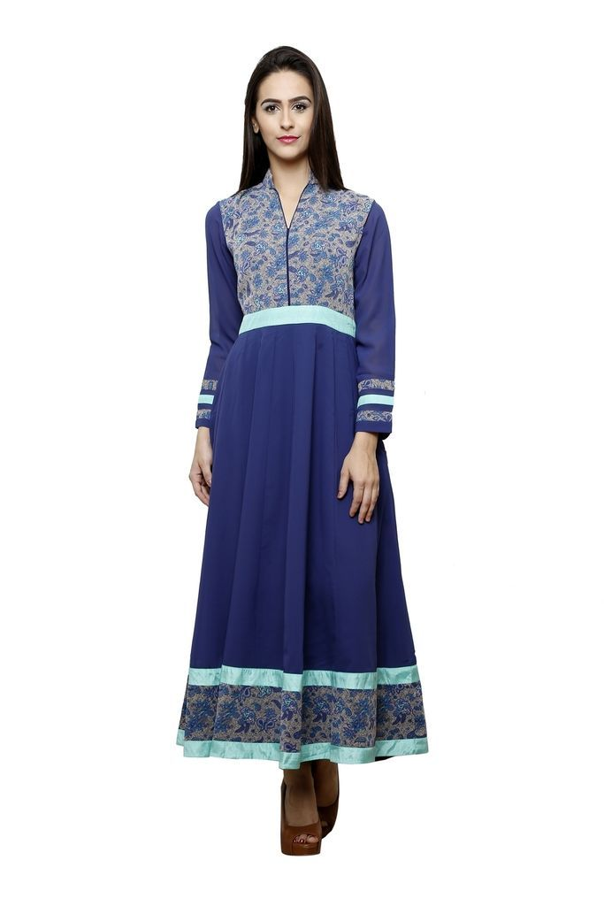 01ab65bd2 Flaunt sartorial elegance as you wear this Navy blue Colour Printed  Anarkali kurti from the house