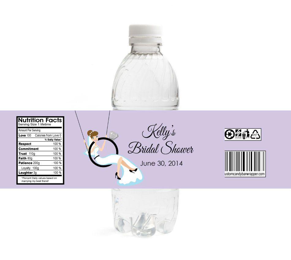 ring swing bridal shower water bottle labels