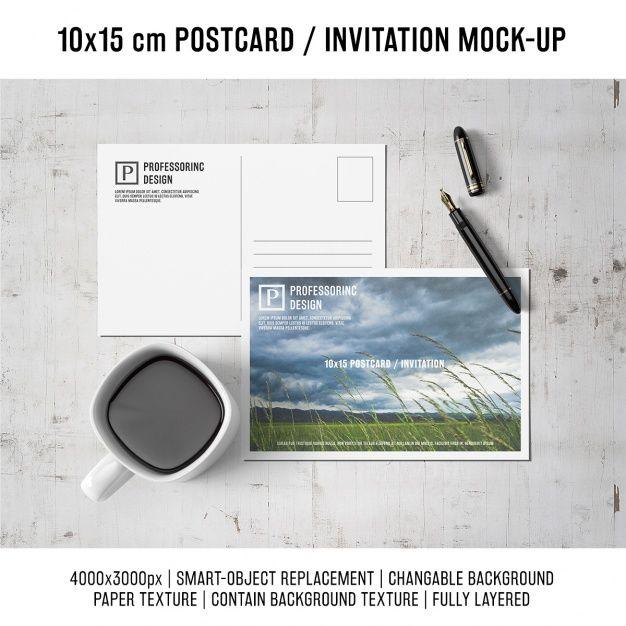 Postcard mock up design Free Psd | Mockups | Pinterest | Fondos
