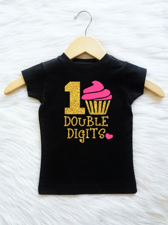 Customizable Colors Double Digits Girls 10th Birthday Shirt Tenth