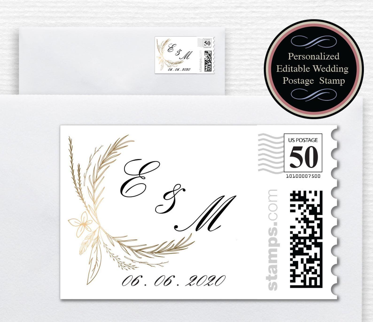 Wedding Postage Stamps Gold Boho Design Editable Postage Etsy Wedding Stamp Design Wedding Postage Stamps Wedding Postage