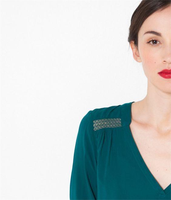 blouse d tails dentelle verte cama eu 2016 best of 2016 pinterest blouse chemisier et. Black Bedroom Furniture Sets. Home Design Ideas