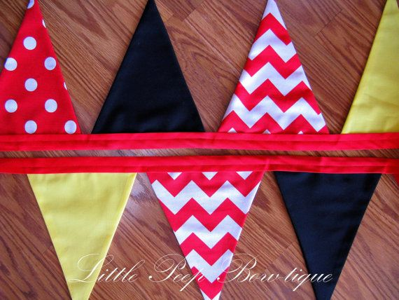 Mickey Mouse Birthday Banner 1st birthday pennant banner black red yellow boys birthday banner photography cake smash on Etsy, $32.00