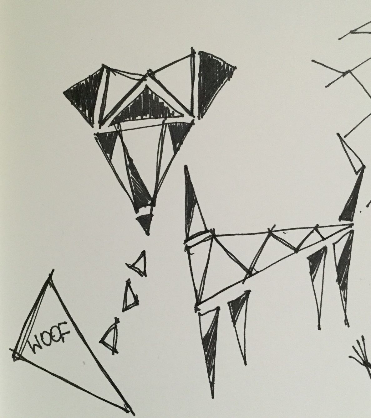 Woof woof. Geometric dog drawing. Directly from my sketchbook.
