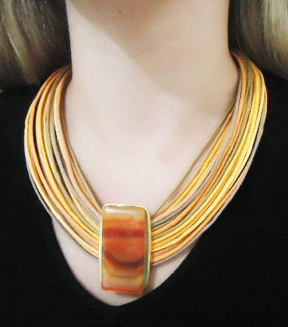 Necklace in fiber strand with agate stone. by CRISDONATI on Etsy
