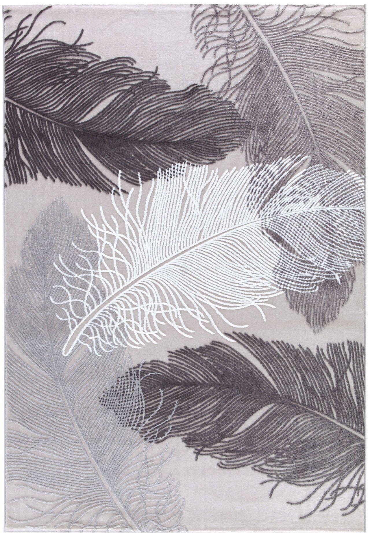 Designer Teppiche Moderner Teppich Grafischer Kurzflor Wohnzimmerteppich In Acryl Grau Hell Dunkel Blumenmuster