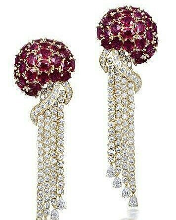 Farah Khan one of India's most renowned jewellery designer ~ Royal Jellyfish earrings composed with rubies and diamonds, in white gold