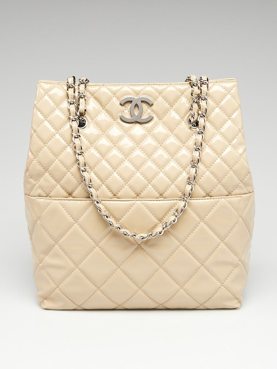 0ff3b0e261f6 Chanel Beige Quilted Patent Leather In the Business North/South Tote Bag -  Yoogi's Closet