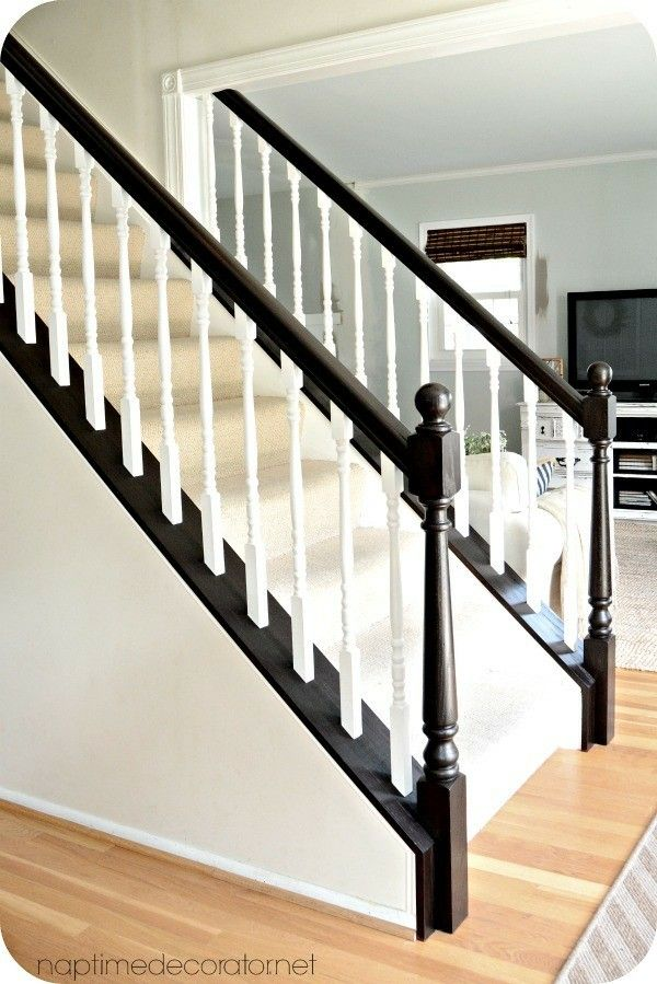 Best Espresso Base White Spindles Staircase Makeover 400 x 300