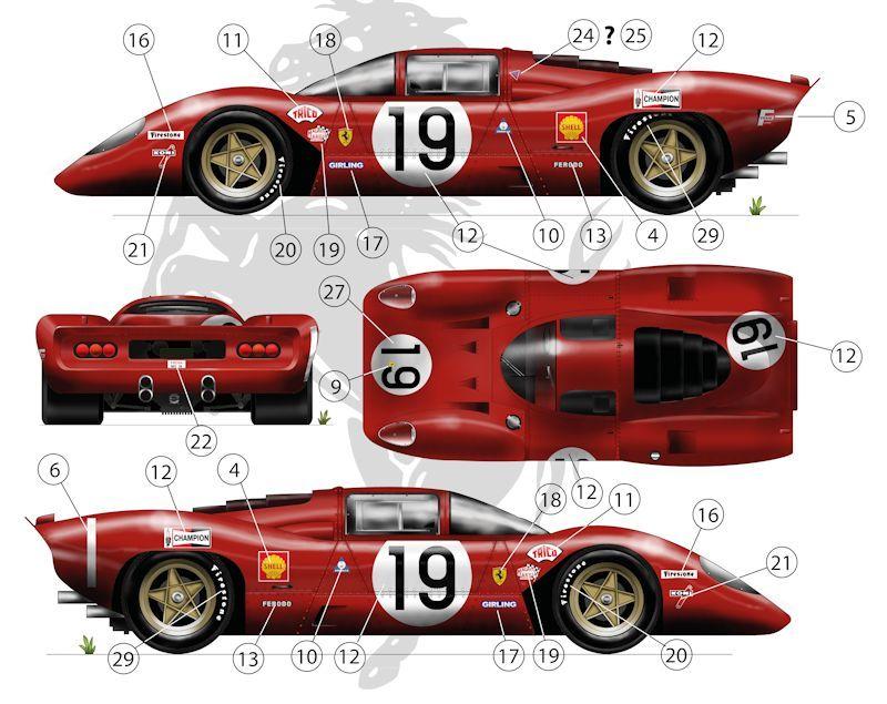 Ffsmc Productions Aufkleber 118 Ferrari 312p 18 Und 19 Der