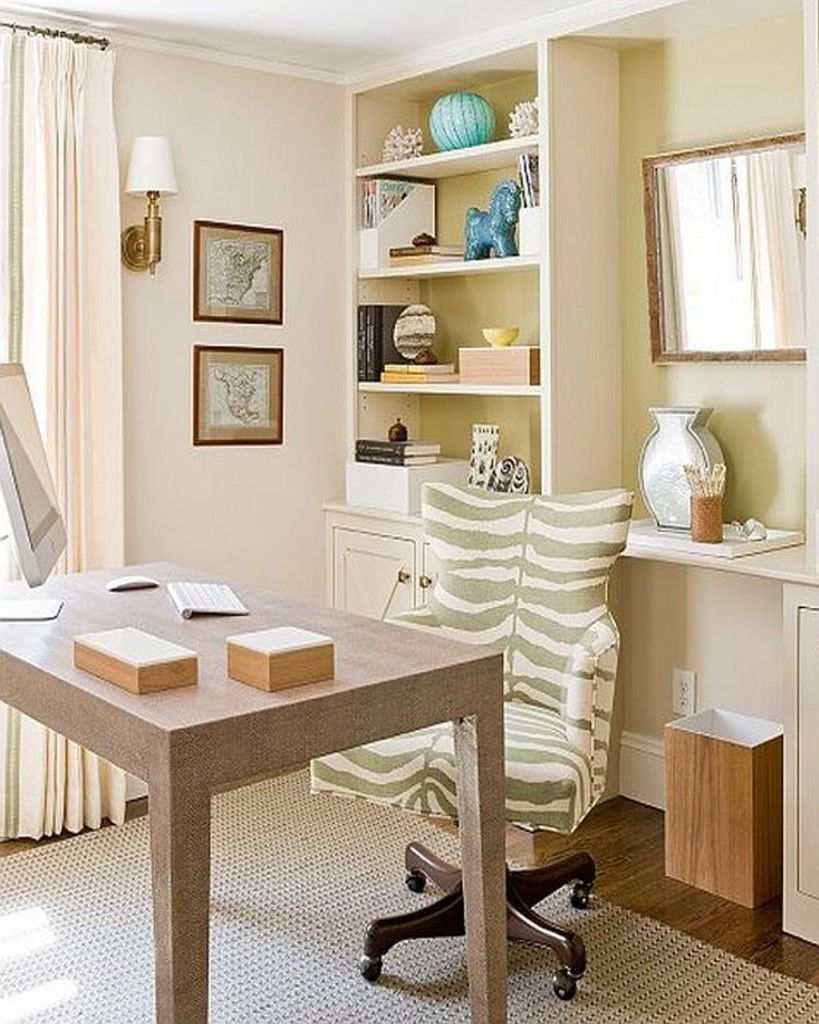 Contemporary Home Office Ideas : White Tone Working Space With ...