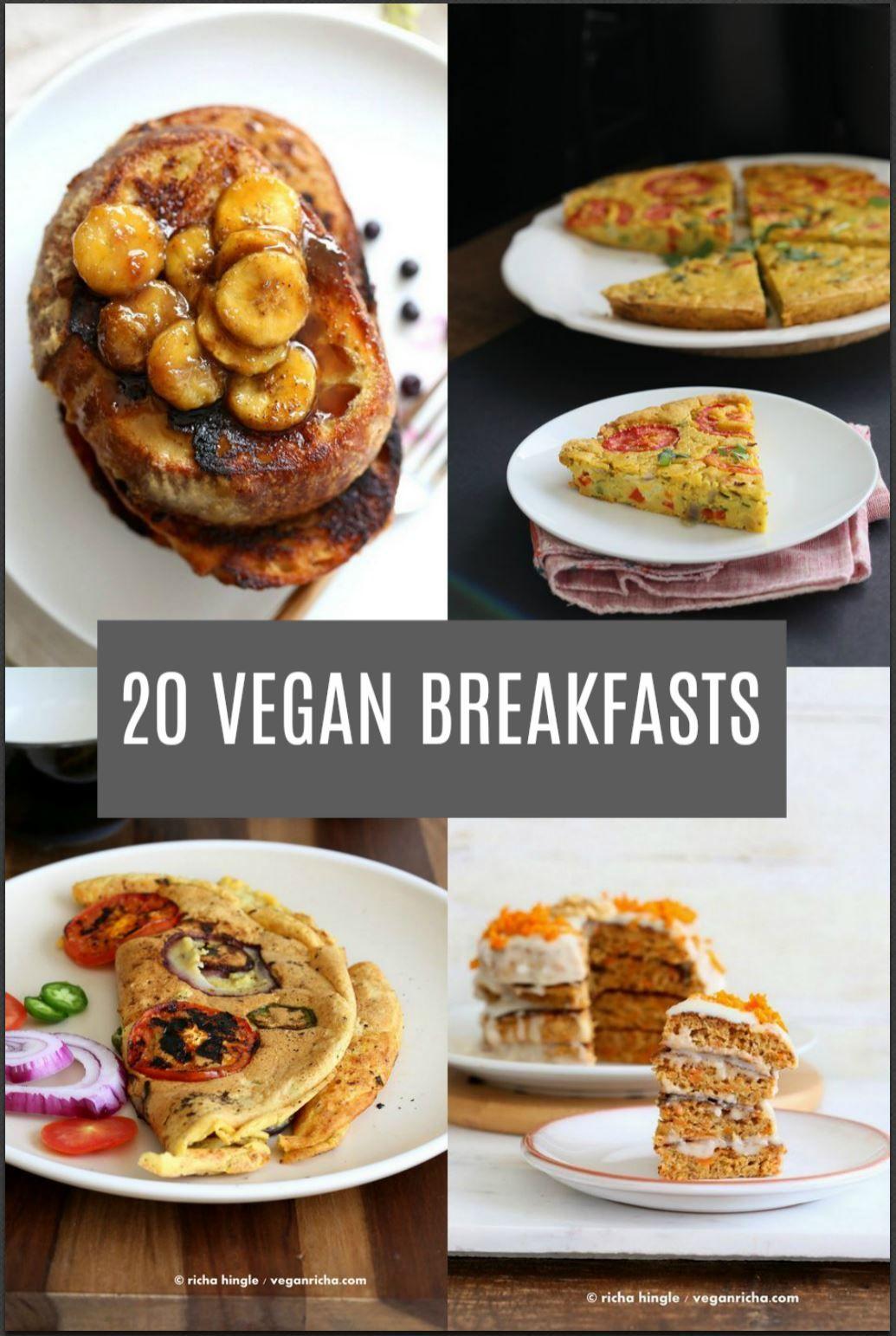 20 Delicious Vegan Breakfast Recipes. Savory & Sweet Breakfast Ideas for everyday vegan Breakfasts. Scrambles, Frittata, pancakes. Gluten-free Soy-free options.