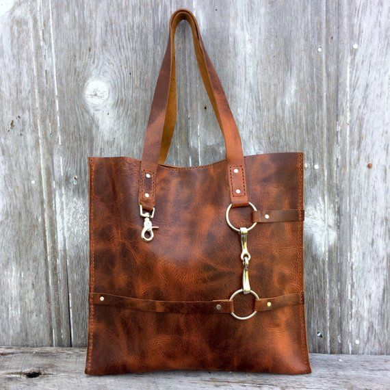 be472a0cb2 Equestrian Tote Bag - Snaffle Horse Bit -Distressed Heavy Leather in Rusty  Brown Autumn Harvest Leat