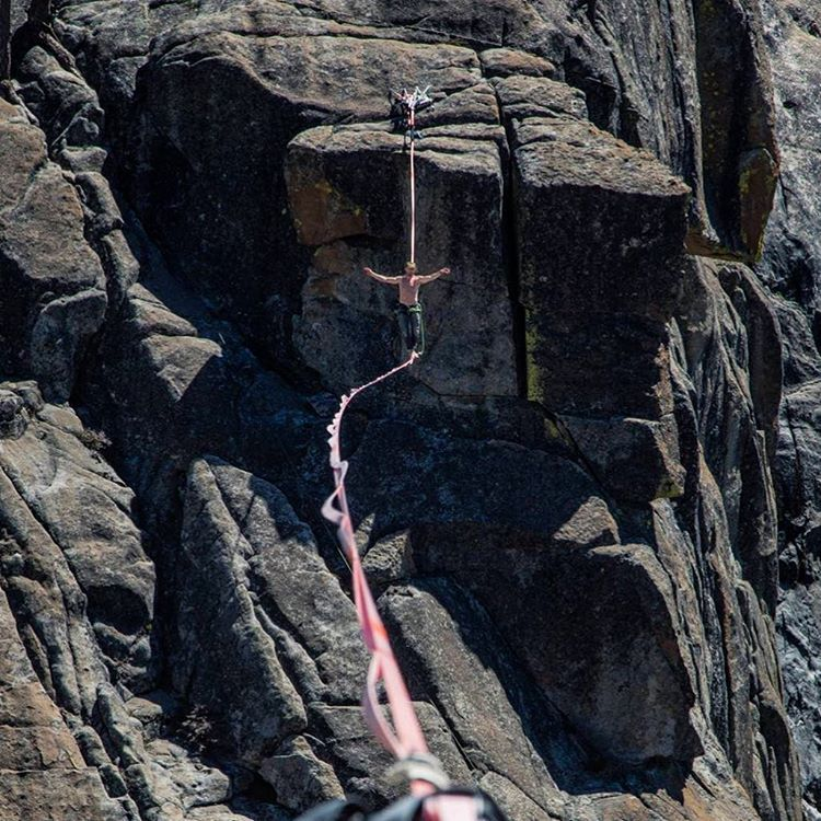 And this, my friends, is why we don't call it a tightrope. Photo: By Maxwell Silver of MHW Athlete Ryan Robinson
