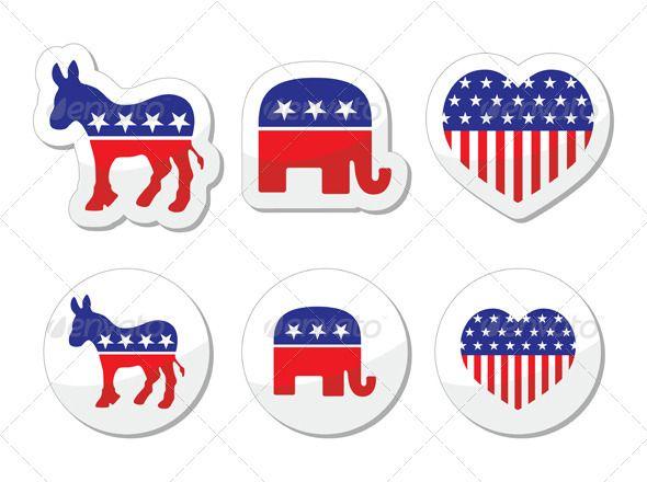 Usa Political Symbols Of Democrats And Repbublicans Graphicriver