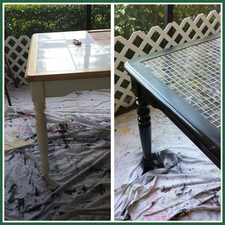 Retiled Our Kitchen Table Used Spray Paint Backsplash Tile From Home Depot Mortar And Grout Total Cost 120 Brick Backsplash Dark Wood Kitchens Backsplash
