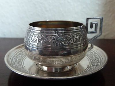 French Minerva Silver cup and saucer, France, by CHEVRON F