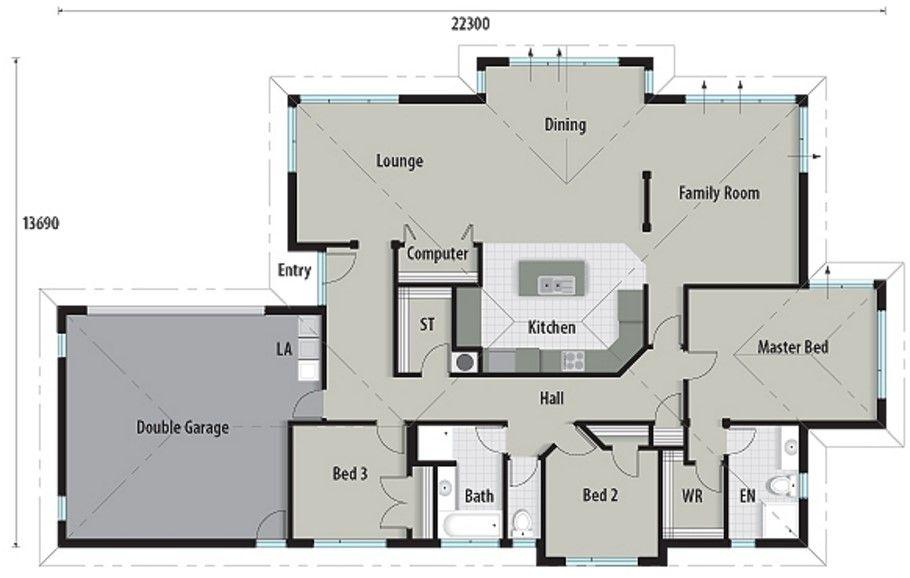Plano de casa moderna de 230 metros cuadrados planos for Casa moderna 50 metros cuadrados
